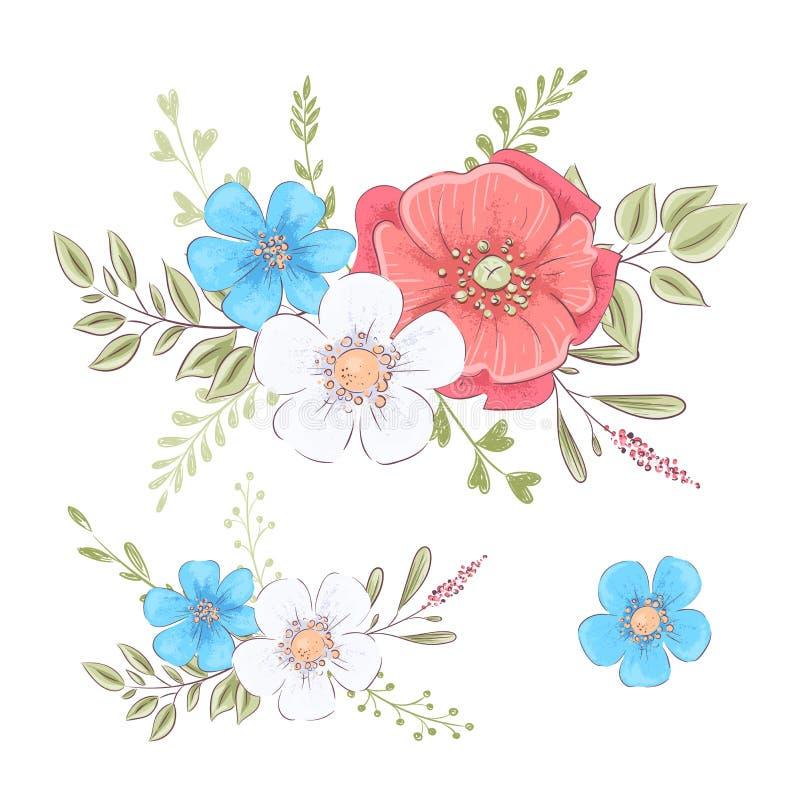 Reeks wildflowers en vlinders De tekening van de hand stock illustratie