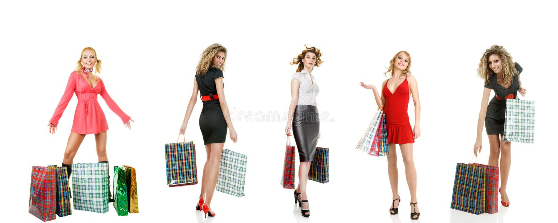 Reeks winkelende meisjes stock fotografie