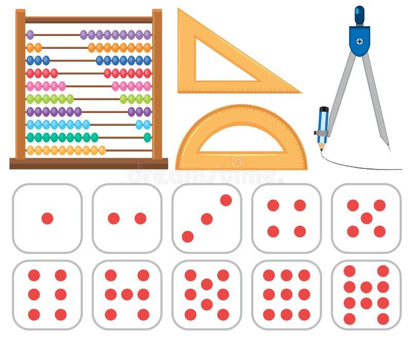 Reeks wiskundemateriaal stock illustratie