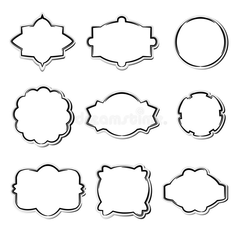 Reeks Witboekkaders in verschillende vormen stock illustratie
