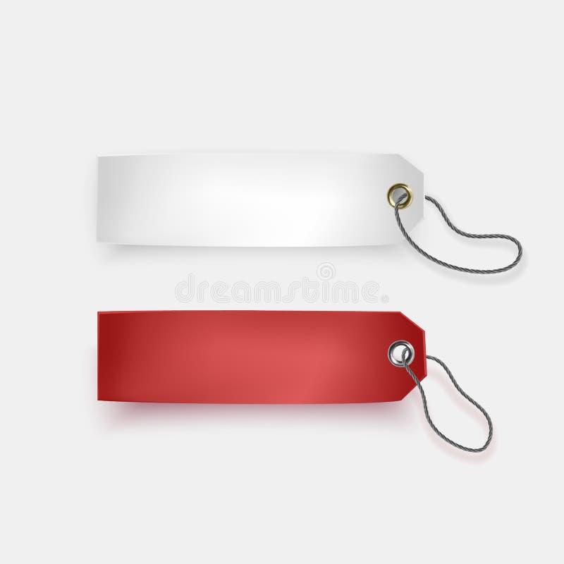 Reeks witte en rode markeringen op witte achtergrond, rearistic markeringen, vectorillustratie royalty-vrije illustratie