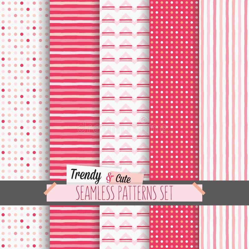 Reeks witte en roze gestippeld, strepen en chevron naadloze patronen vector illustratie