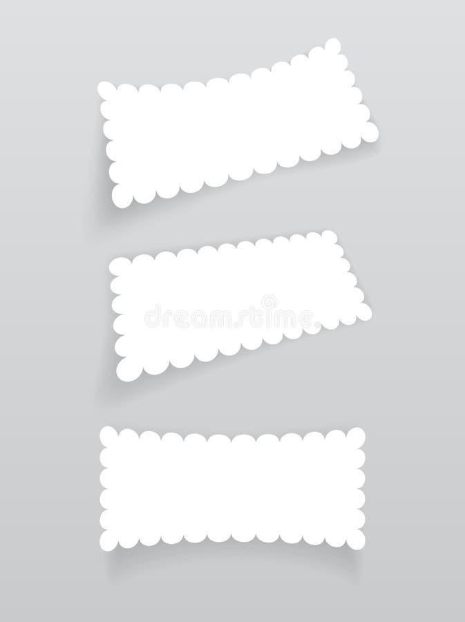 Reeks witte etiketten met schaduw vector illustratie