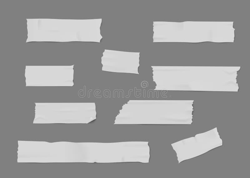 Reeks witte kleefstof of afplakbandstukken met gescheurde randen realistische stijl royalty-vrije illustratie