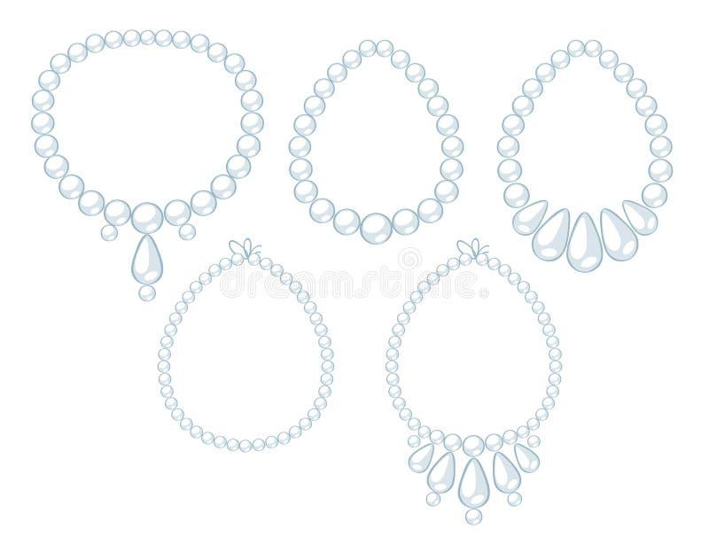 Reeks witte parelhalsbanden vector illustratie