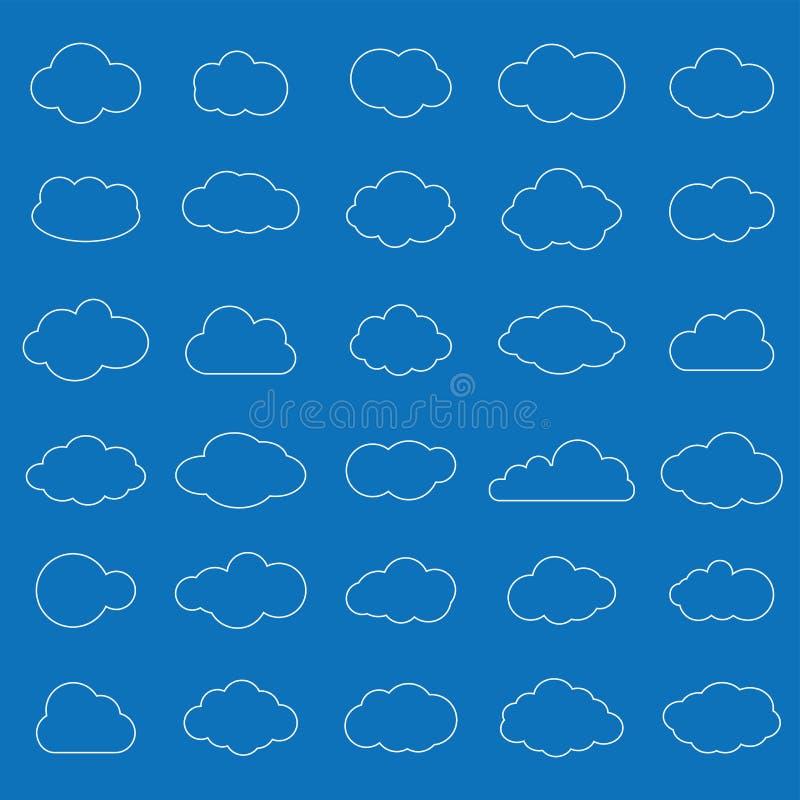 Reeks witte pictogrammen van de wolkenlijn op blauwe achtergrond Wolkensymbool FO stock illustratie