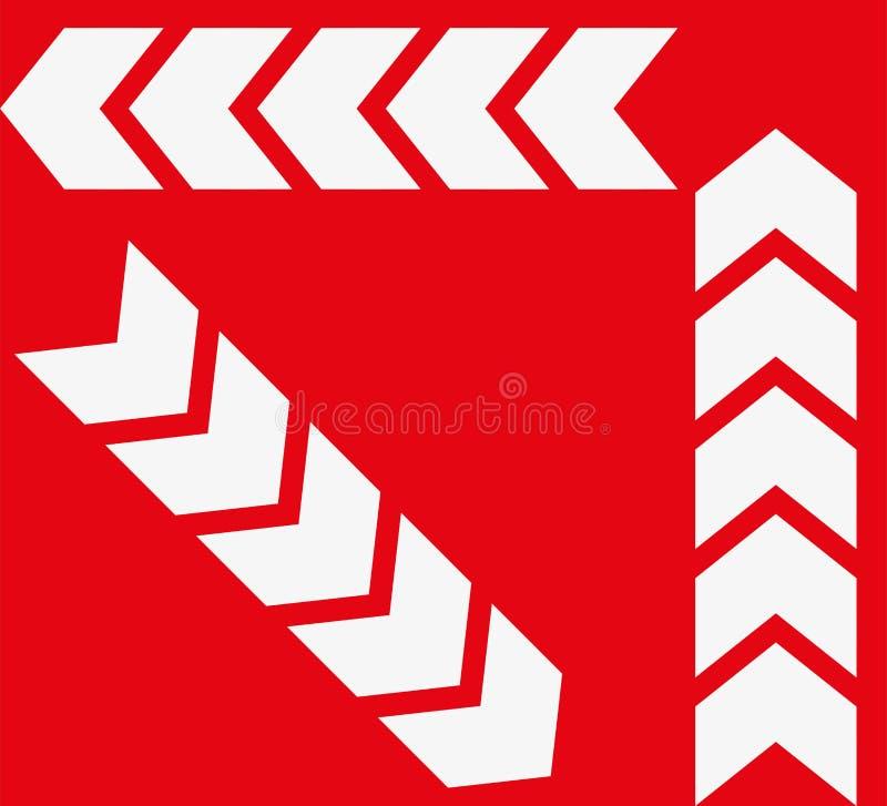 Reeks witte pijlen op rode achtergrond Richtingsindicator royalty-vrije illustratie