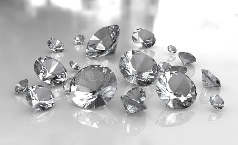 Reeks witte ronde diamanten op glanzende oppervlakte royalty-vrije illustratie