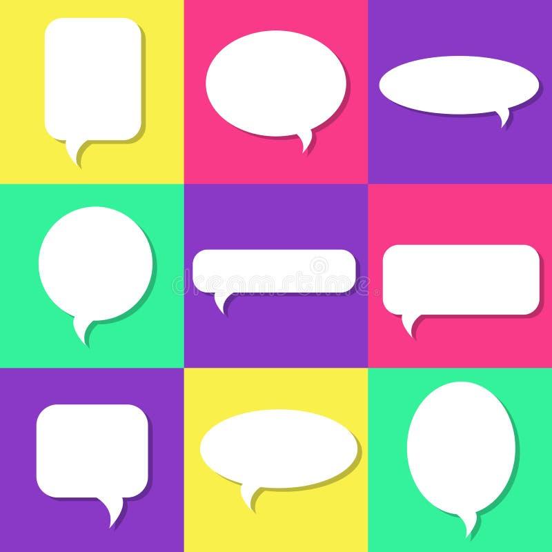 Reeks witte toespraakbellen met schaduwen, geplaatste pictogrammen stock illustratie