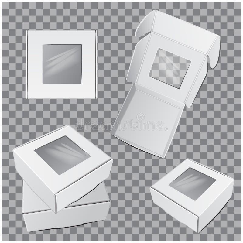 Reeks witte Vierkante Dozen met venster Vector Realistisch Kartonpakket voor software, elektronisch apparaat of giftpak stock illustratie