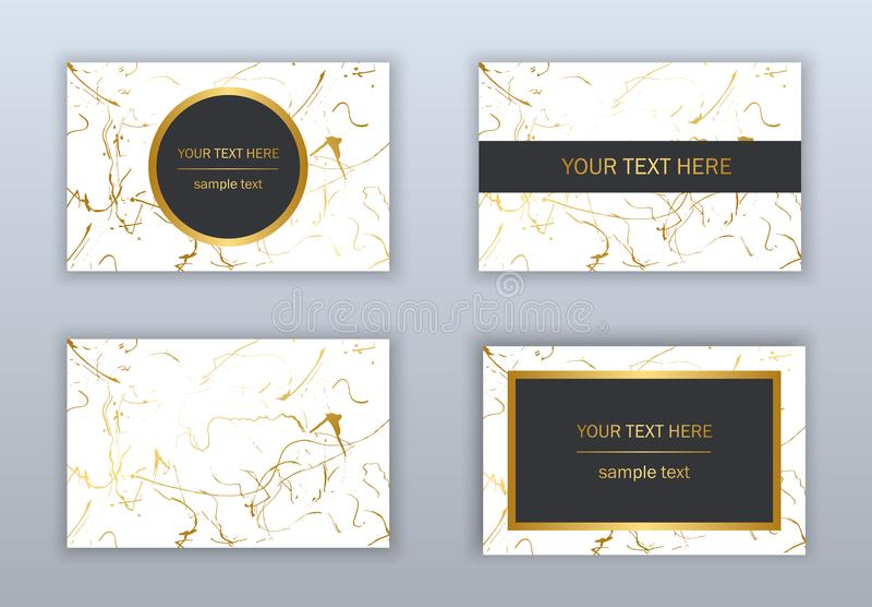 Reeks witte, zwarte en gouden adreskaartjesmalplaatjes Modern ab stock fotografie
