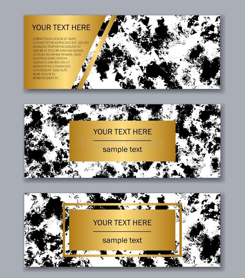 Reeks witte, zwarte en gouden bannersmalplaatjes Moderne samenvatting stock foto