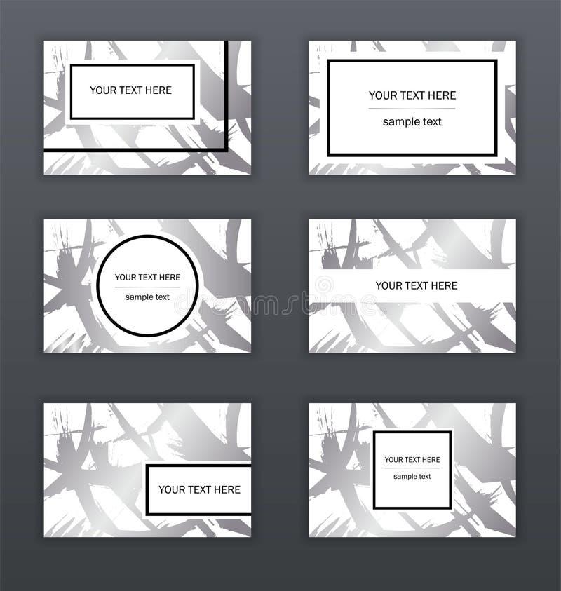 Reeks witte, zwarte en zilveren adreskaartjesmalplaatjes Modern abstract ontwerp Hand getrokken inktpatroon Borsteltextuur stock illustratie