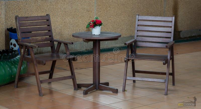 Reeks Wooden stoelen stock afbeelding
