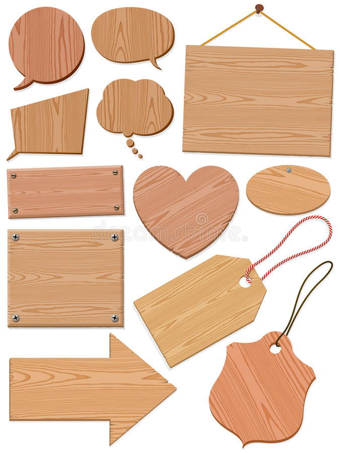 Reeks Woodgrain Pictogrammen vector illustratie