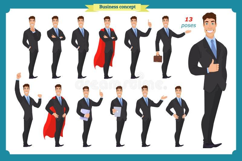 Reeks zakenlieden die in diverse actie voorstellen Gelukkige mens in pak Mensenkarakter vector illustratie