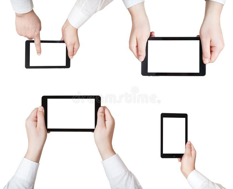 Reeks zakenmanhanden met geïsoleerde tabletpc stock foto