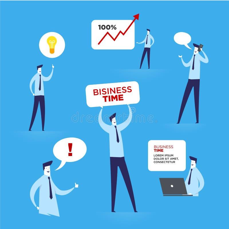 Reeks zakenmankarakters stock illustratie