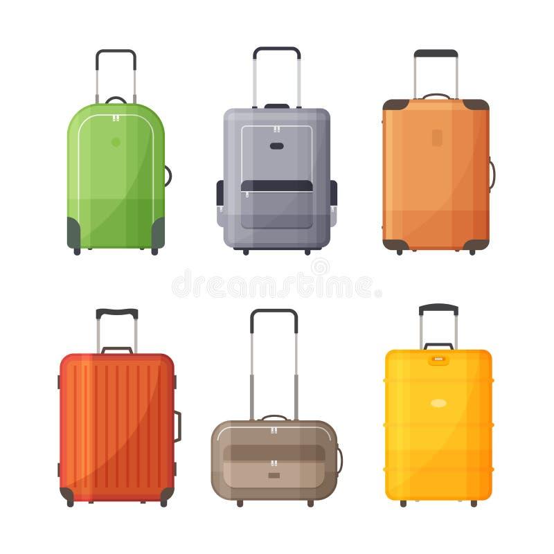 Reeks zakken voor reis Koffers met handvat voor reis royalty-vrije illustratie
