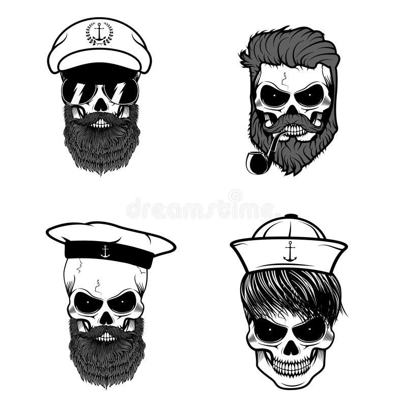 Reeks zeeliedenschedels stock illustratie