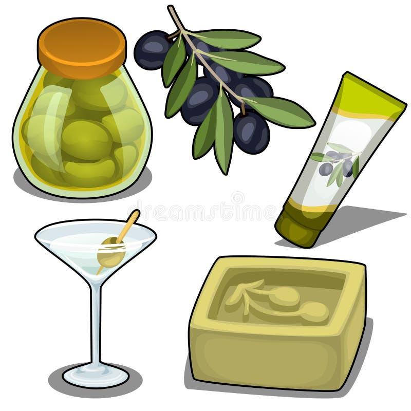 Reeks zeep, room, cocktails en gemarineerde olijven royalty-vrije illustratie