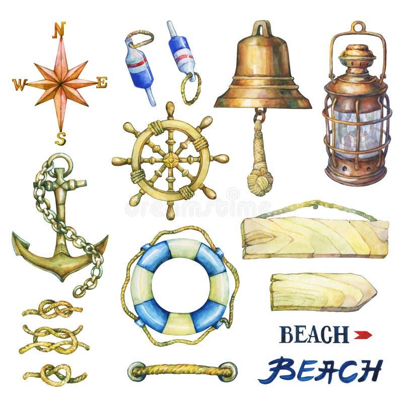 Reeks zeevaartvoorwerpen stock illustratie
