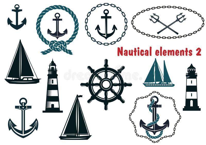 Reeks zeevaartwapenkunde als thema gehade elementen vector illustratie