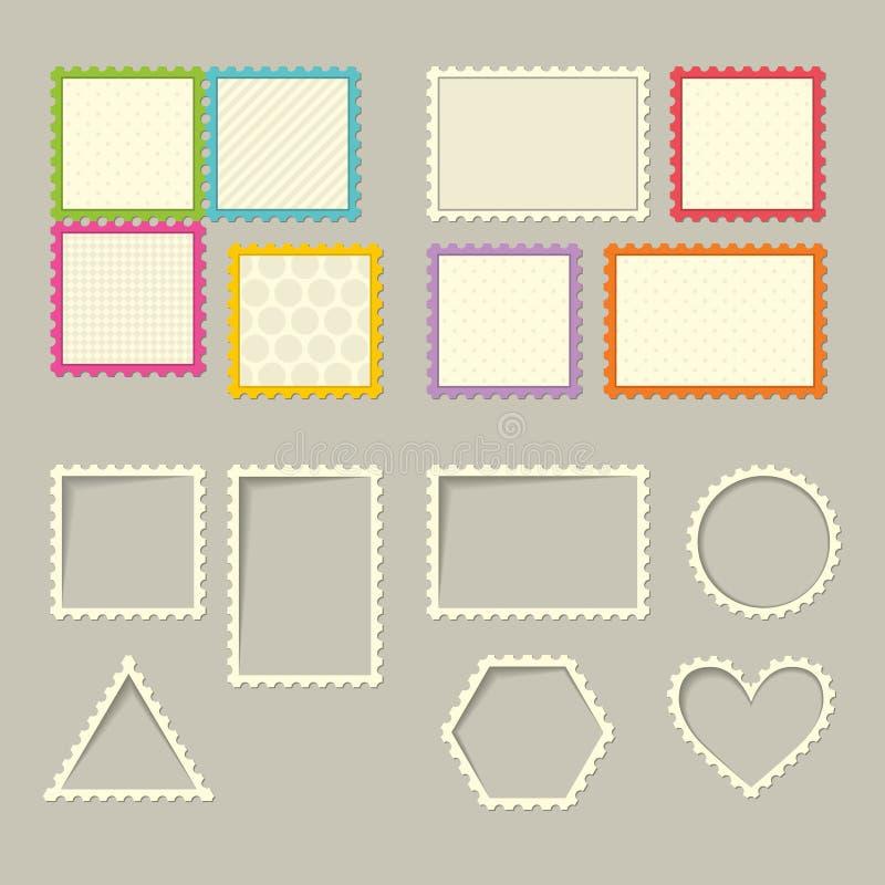 Reeks zegels en kaders vector illustratie