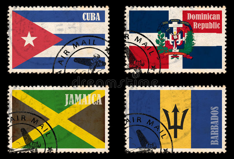 Reeks zegels met vlaggen van de Caraïben royalty-vrije illustratie