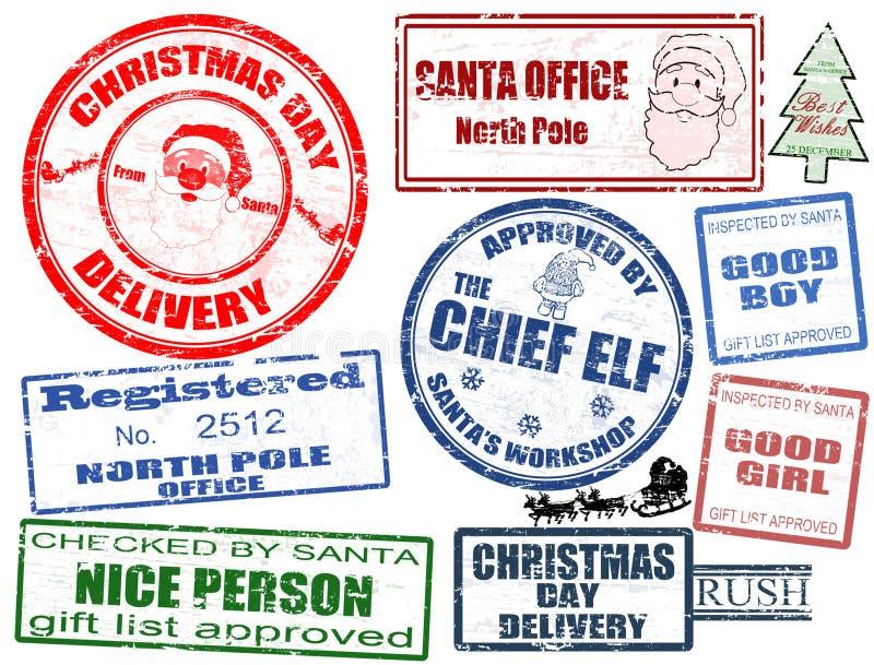 Reeks zegels van Kerstmis vector illustratie