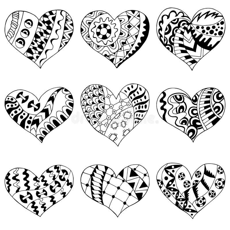Reeks zentangle zwarte harten stock illustratie