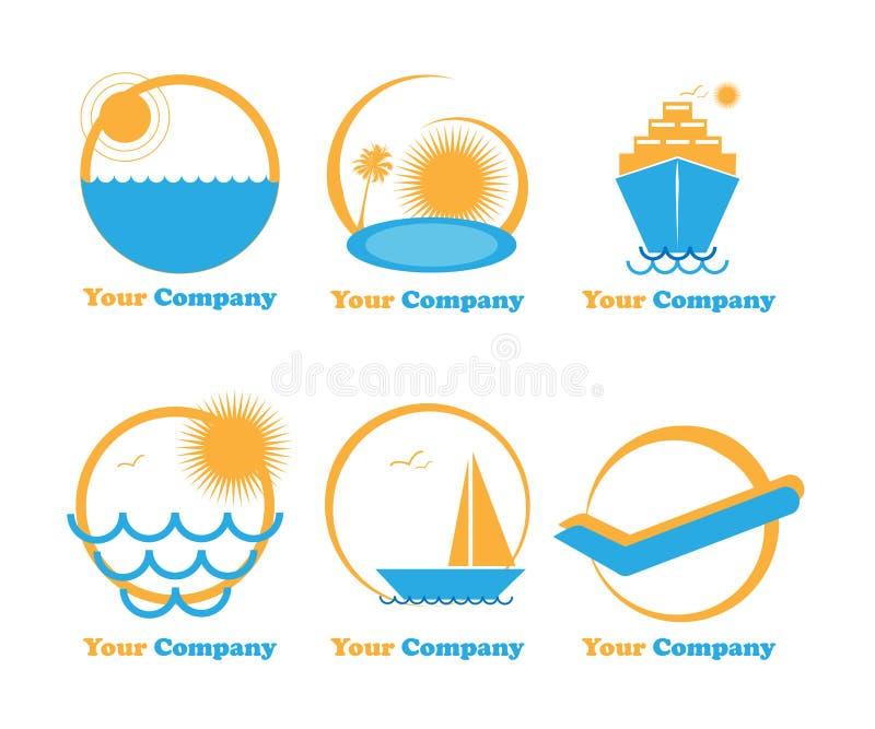 Reeks zes emblemen reis-vakantie-vakantie vector illustratie