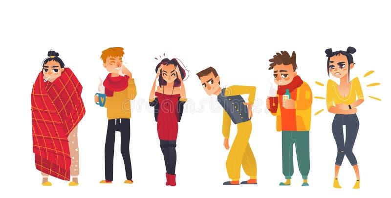 Reeks zieken - griep, koude, hoofdpijn, rugpijn stock illustratie