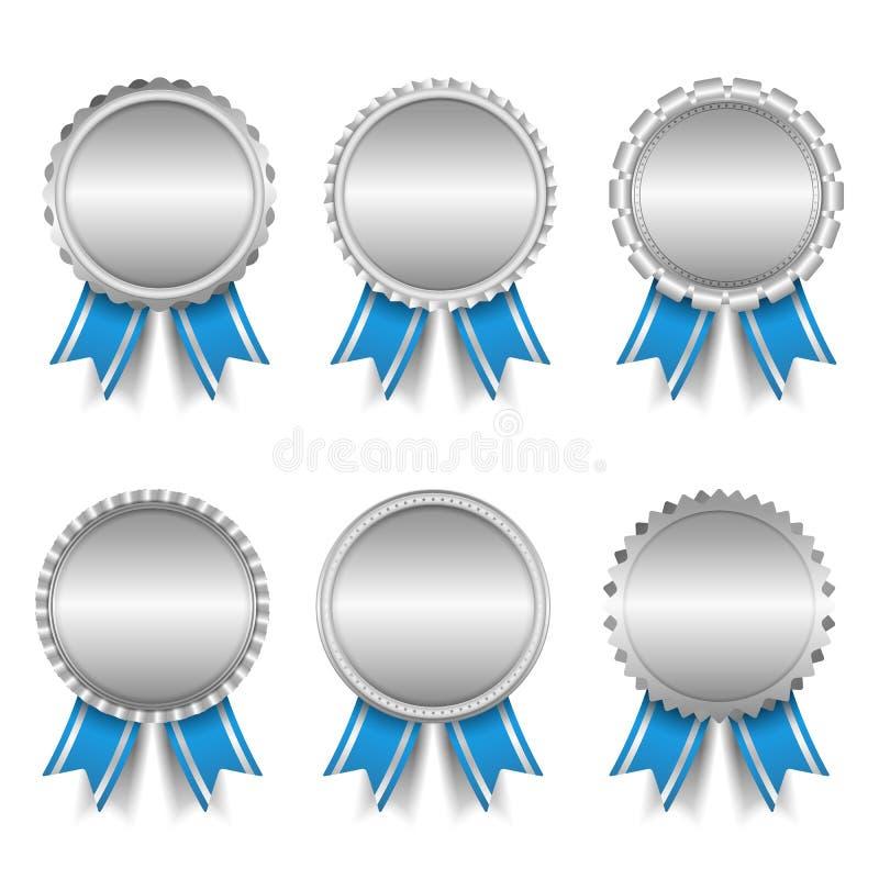 Zilveren medailles vector illustratie