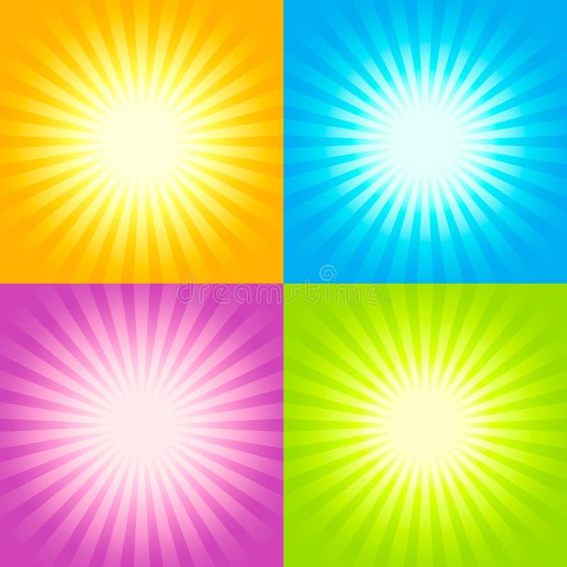 Reeks Zonnestraalachtergronden vector illustratie