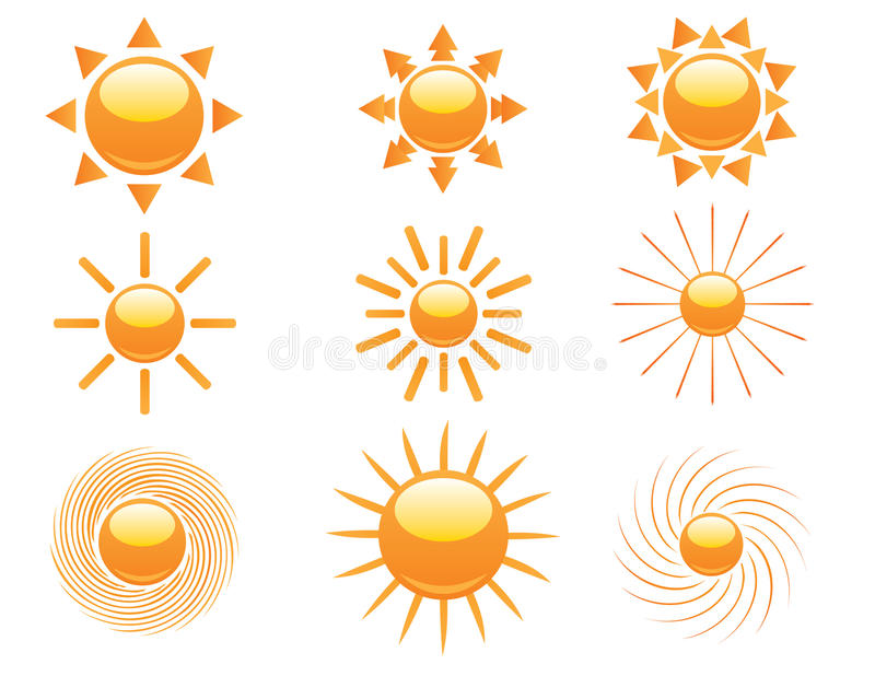 Reeks zonpictogrammen