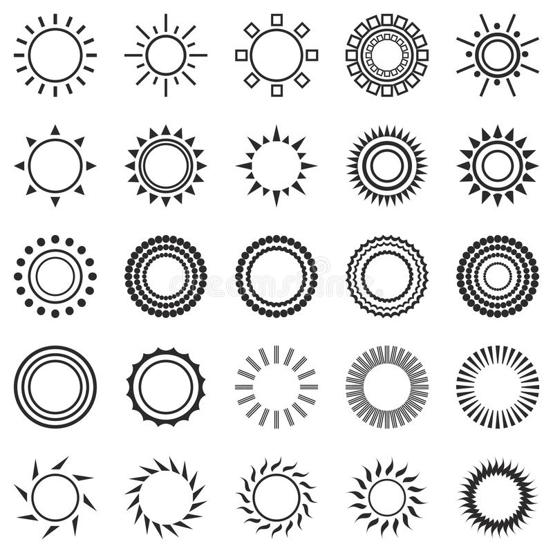 Reeks Zonpictogrammen op Witte Achtergrond