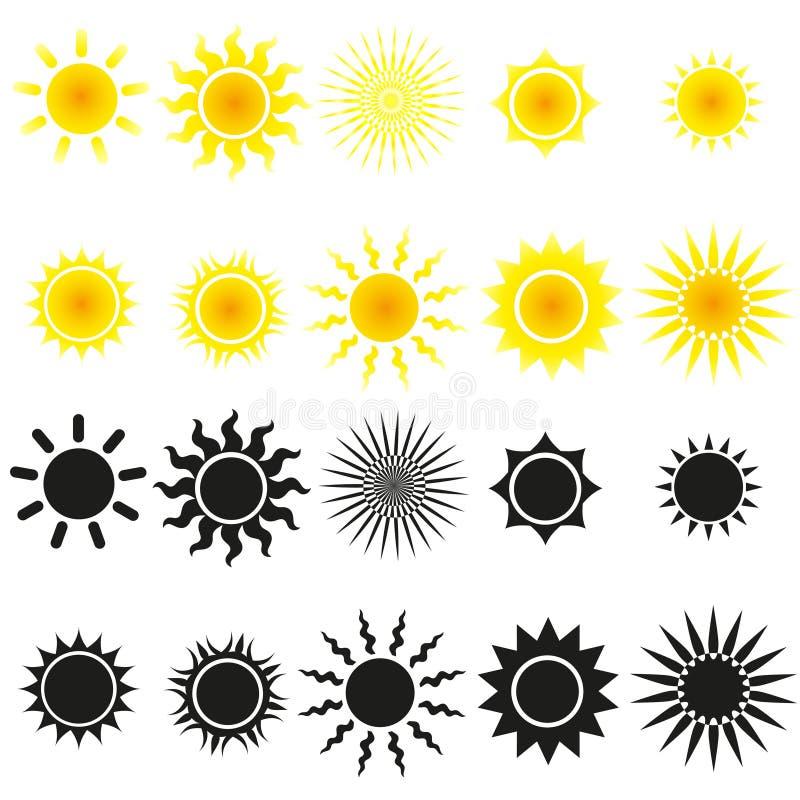 Reeks zonvectoren in geel en zwart vector illustratie
