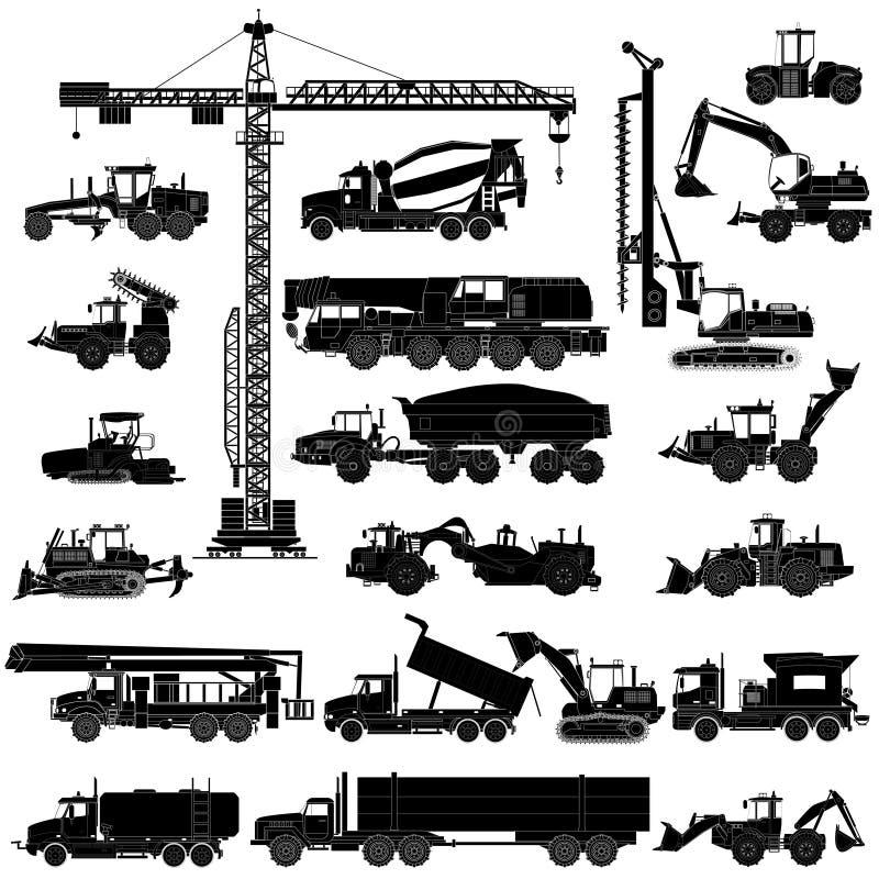 Reeks zware silhouetten van bouwmachines, geïsoleerde pictogrammen, stock illustratie
