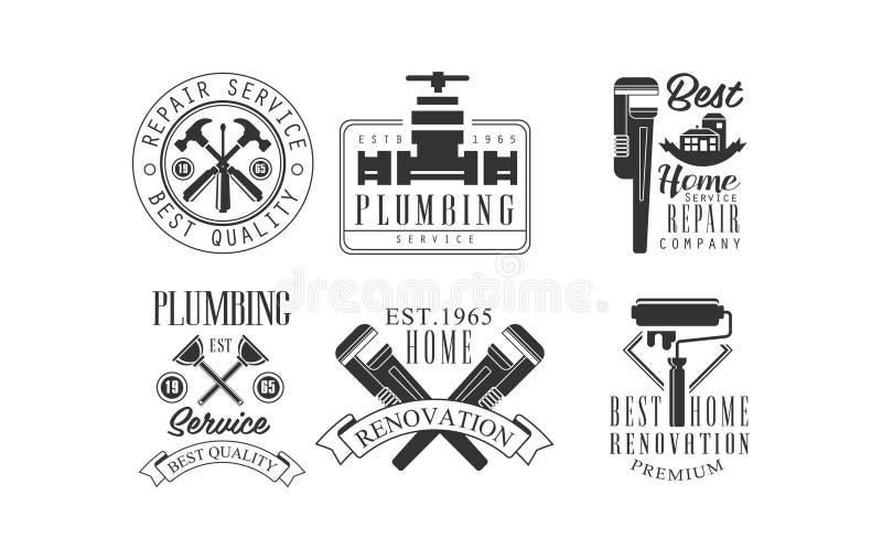Reeks zwart-wit emblemen voor loodgieterswerk en bouw de diensten Vectoremblemen voor de bedrijven van de huisvernieuwing vector illustratie