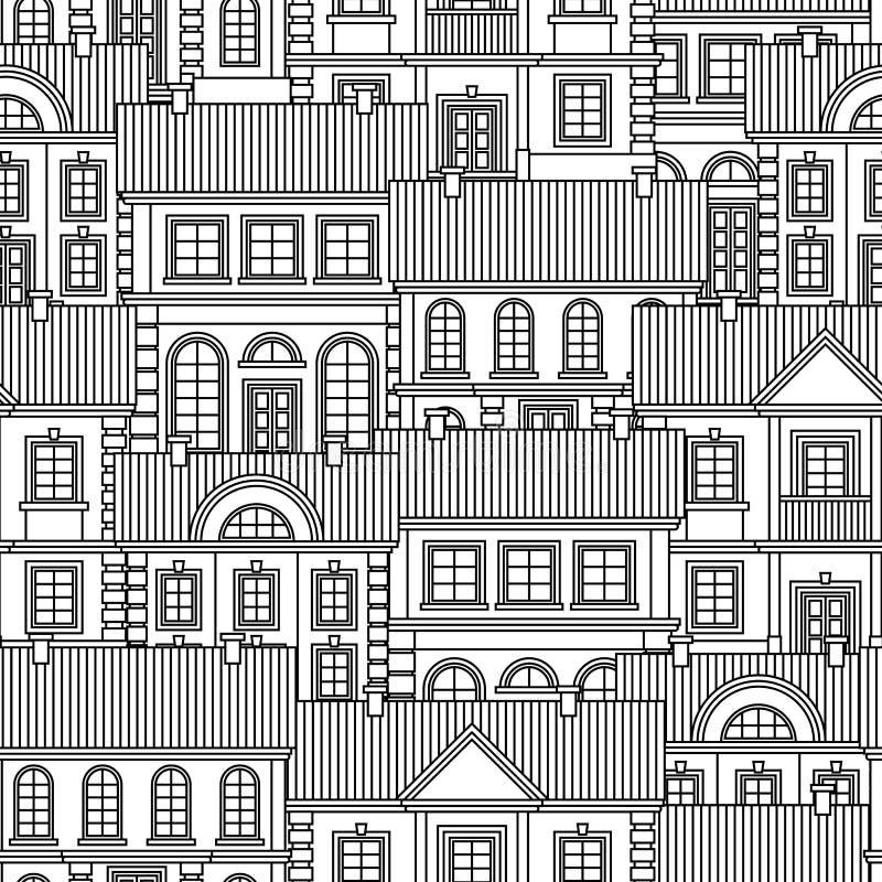 Reeks Zwart-wit huizen Vlak Stijl Vector Naadloos Patroon royalty-vrije illustratie