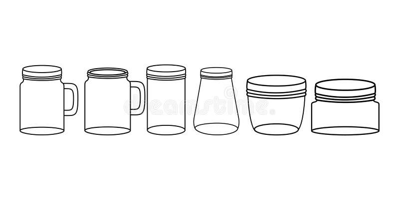 Reeks zwart-wit metselaarkruiken stock illustratie