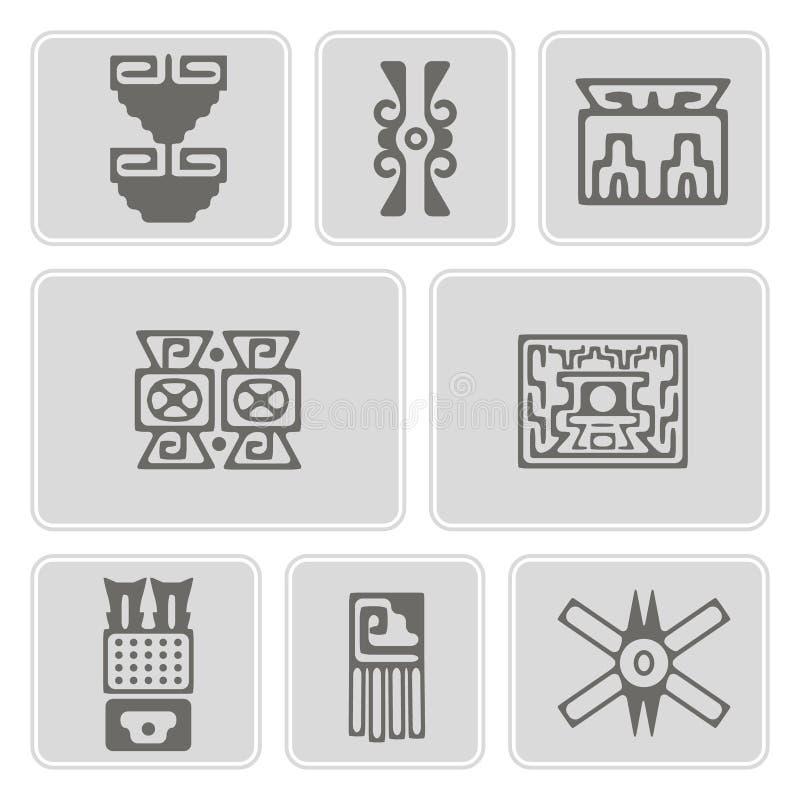Reeks zwart-wit pictogrammen met de domorenkarakters van Indianenoverblijfselen (deel 10) vector illustratie