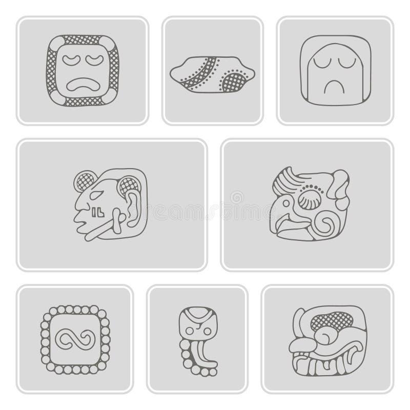 Reeks zwart-wit pictogrammen met de domorenkarakters van Indianenoverblijfselen (deel 12) vector illustratie