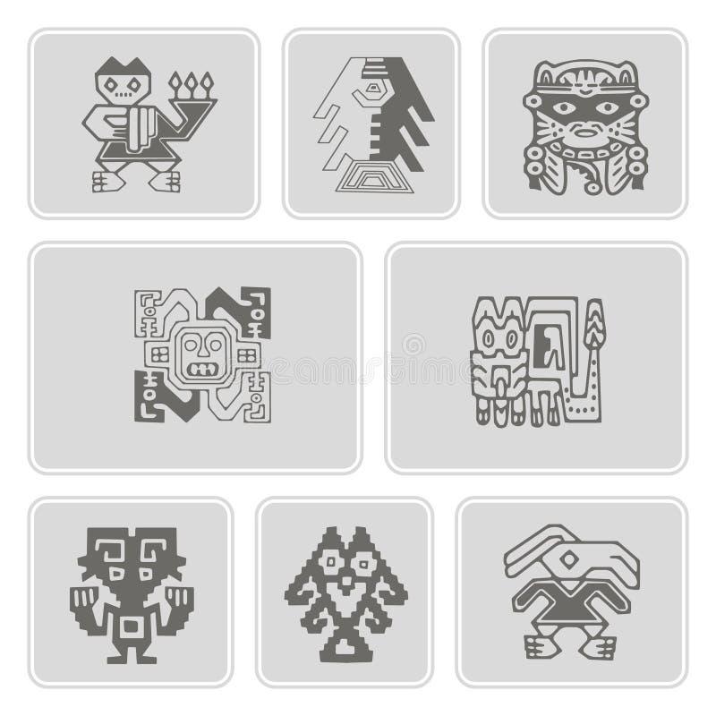 Reeks zwart-wit pictogrammen met de Peruviaanse kunst van Indiërs en etnische ornamenten royalty-vrije illustratie