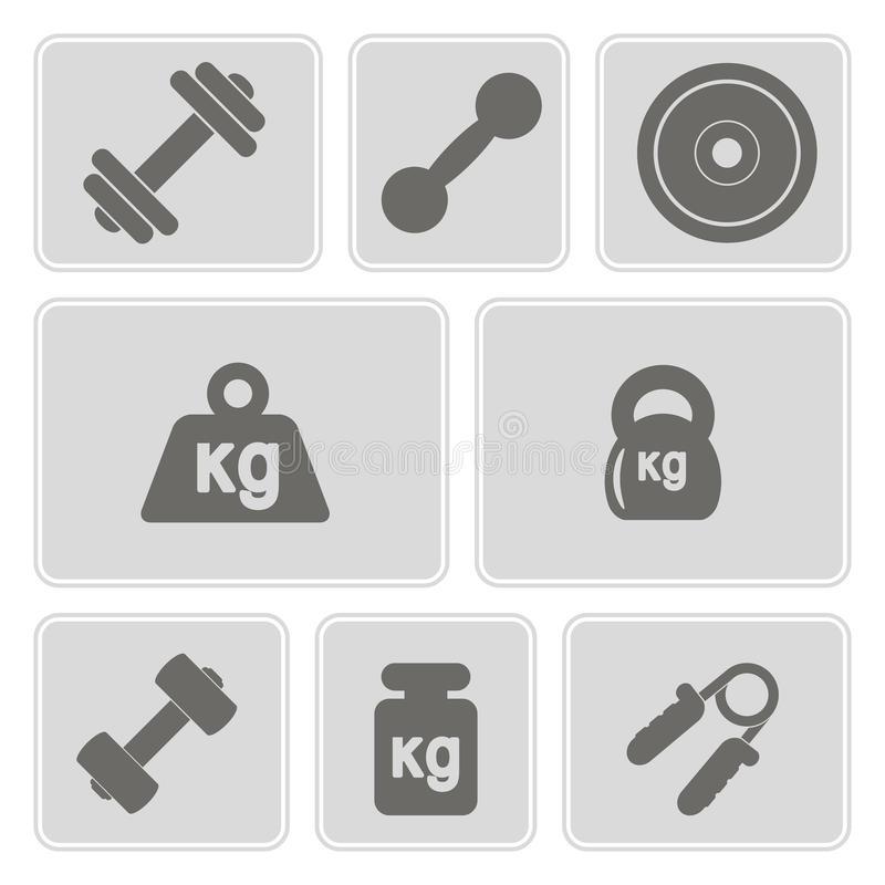 Reeks zwart-wit pictogrammen met gewicht royalty-vrije illustratie