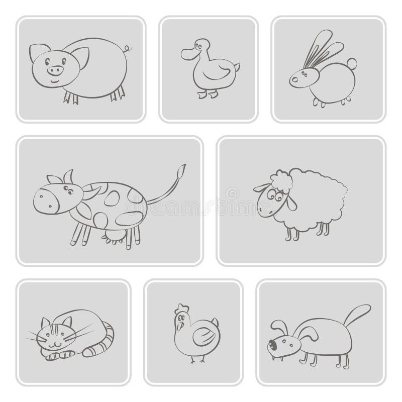 Reeks zwart-wit pictogrammen met huisdierenjonge geitjes het trekken stock illustratie