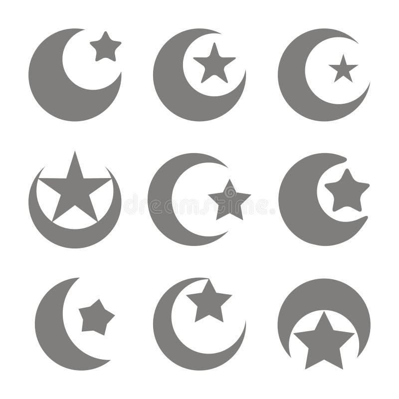 Reeks zwart-wit pictogrammen met symbool van islam toenemende maan met ster vector illustratie