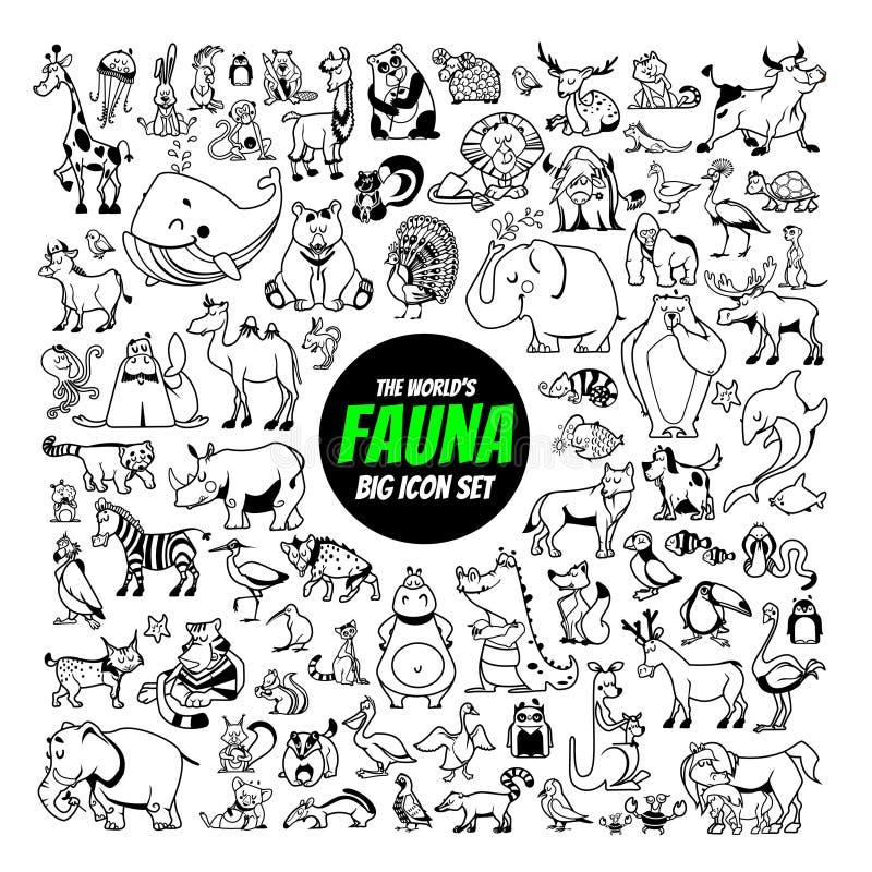Reeks zwart-witte dieren van de wereld stock illustratie