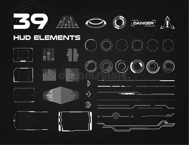 Reeks zwart-witte elementen van HUD UI voor zaken app Head-up vertoningselementen voor het Web en app Futuristische gebruiker royalty-vrije illustratie